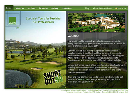 Levante Golf Web Site Screenshot - Click to Enlarge