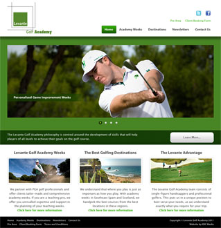Levante Golf Academy Web Site Screenshot - Click to Enlarge
